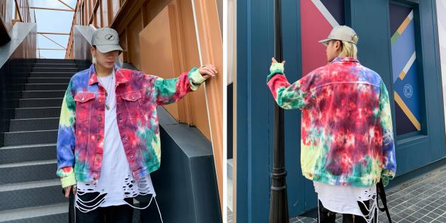 Джинсовая куртка с принтами тай-дай