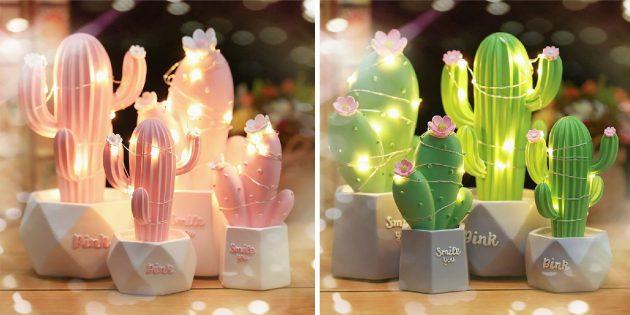 Необычные светильники с AliExpress: в виде кактуса
