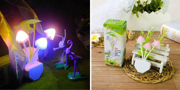 Необычные светильники с AliExpress: в виде грибочков