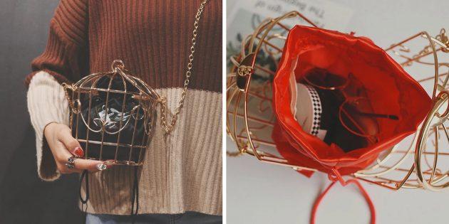 Необычная сумка в форме птичьей клетки