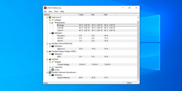 Мониторинг системы: CPUID HWMonitor