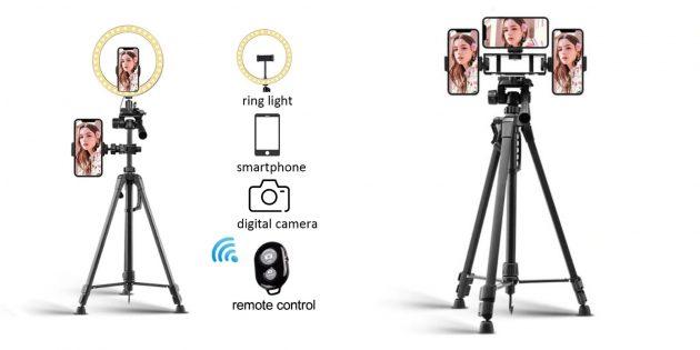 Штатив для смартфона с AliExpress с дополнительной боковой клипсой