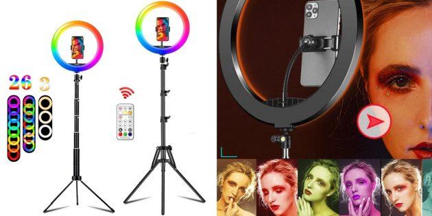 Штатив для смартфона с AliExpress с цветной лампой
