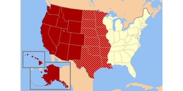 Территории к западу от реки Миссисипи на современной карте США