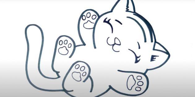 Как нарисовать тигра: Изобразите рисунок кошачьей подошвы