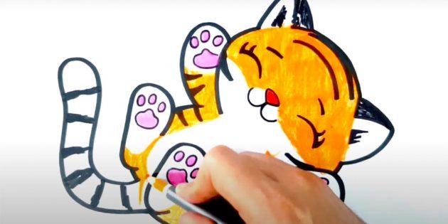 Как нарисовать тигра: Раскрасьте рисунок