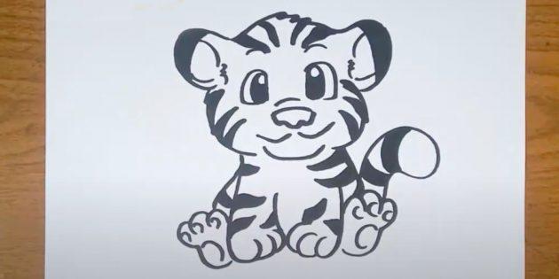 Сидящий мультяшный тигр