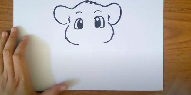 Нарисуйте лоб и уши
