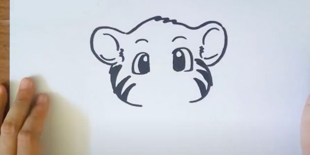 Как нарисовать тигра: На щеках тигра нарисуйте полоски