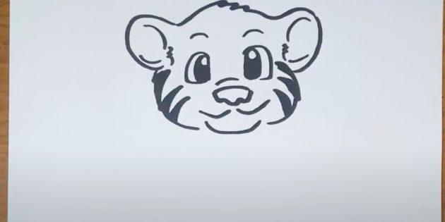 Как нарисовать тигра: Изобразите нос, улыбку и подбородок