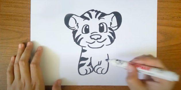 Как нарисовать тигра: Изобразите вторую лапу