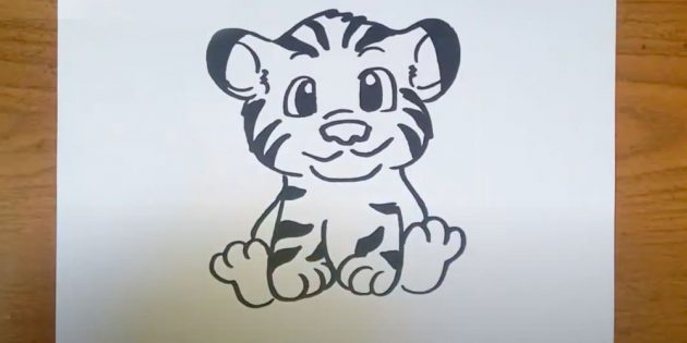 Как нарисовать тигра: Нарисуйте бока и подошвы