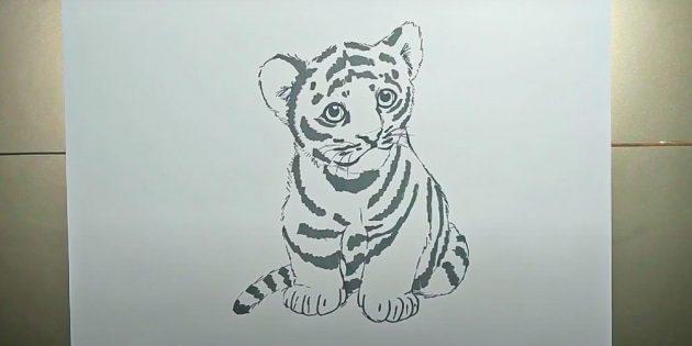 Сидящий реалистичный тигр