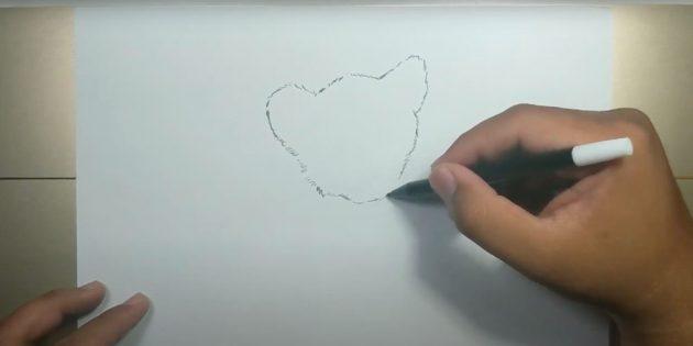 Как нарисовать тигра: Нарисуйте контур головы