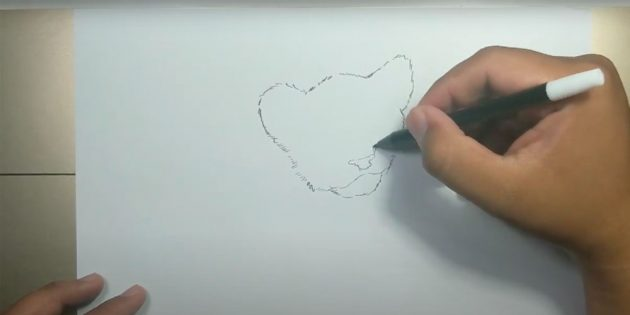 Как нарисовать тигра: Изобразите нос и рот