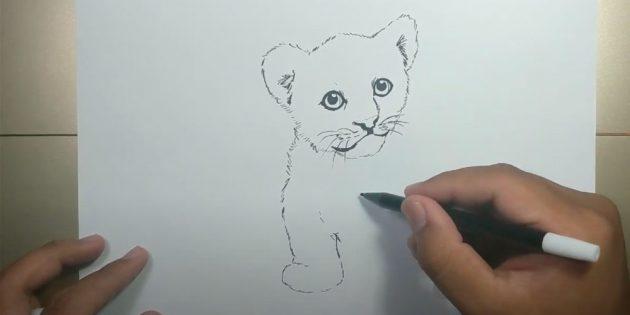 Как нарисовать тигра: Нарисуйте лапу