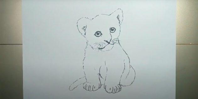 Как нарисовать тигра: Нарисуйте на передних лапах пальцы
