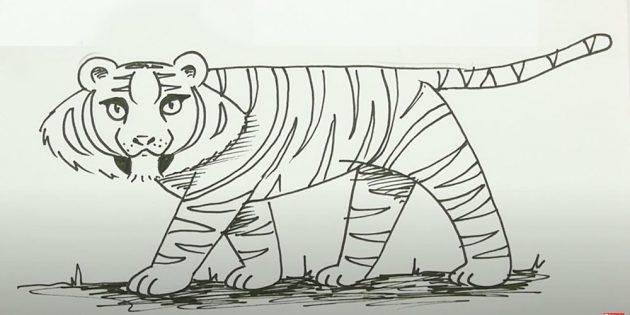Стоящий мультяшный тигр