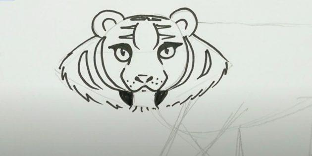 Как нарисовать тигра: Изобразите полоски и клыки
