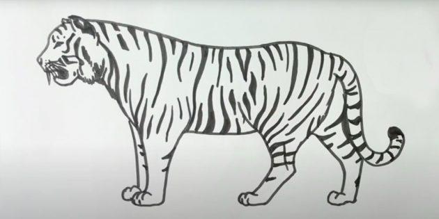 Стоящий реалистичный тигр