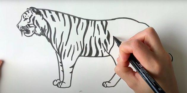 Покройте тигра чёрными полосами