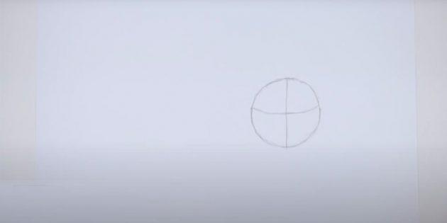 Как нарисовать тигра: Нарисуйте в правой части листа круг