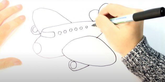 Как нарисовать самолёт: изобразите двигатели и иллюминаторы