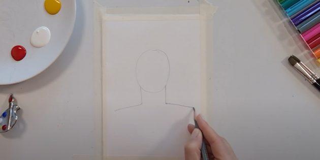 Рисунки к 9Мая: наметьте голову, шею и плечи