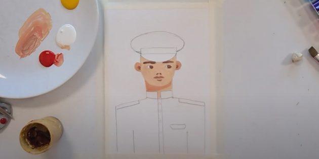 Рисунки к 9Мая: закрасьте лицо и шею