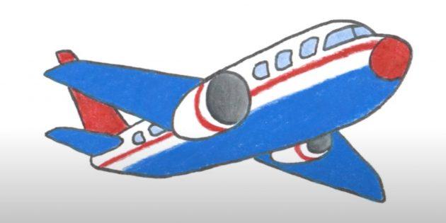 Как нарисовать самолёт: рисунок самолёта цветными карандашами