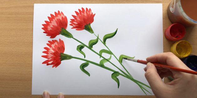 Рисунки к 9Мая: гвоздики