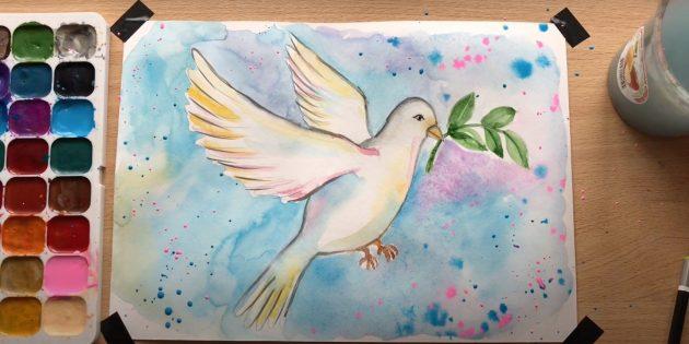 Рисунки на 9Мая: голубь мира