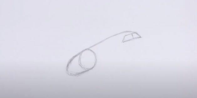 Как нарисовать самолёт: нарисуйте ветровое стекло и двигатель