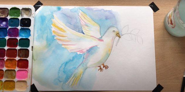 Рисунки на 9Мая: закрасьте голубя