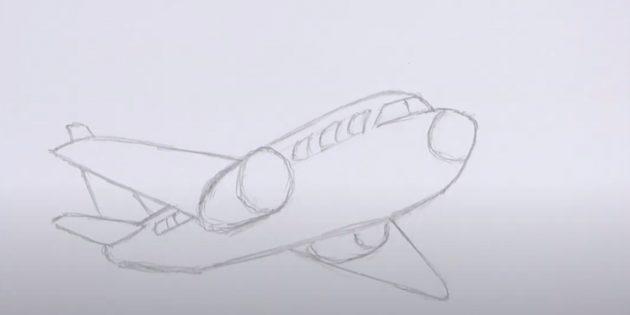 Как нарисовать самолёт: нарисуйте иллюминаторы, стекло и двигатель