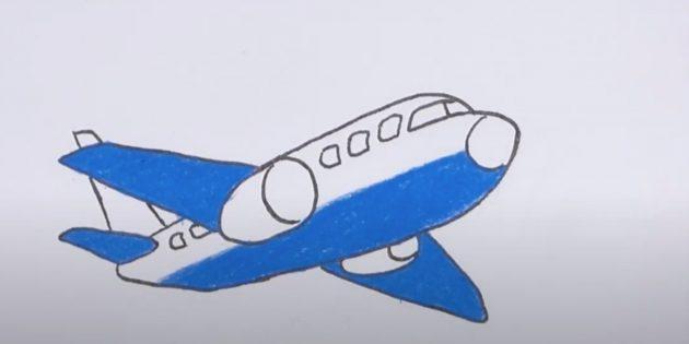 Как нарисовать самолёт: обведите рисунок и добавьте синий цвет