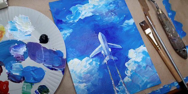 Как нарисовать самолёт: рисунок самолёта красками