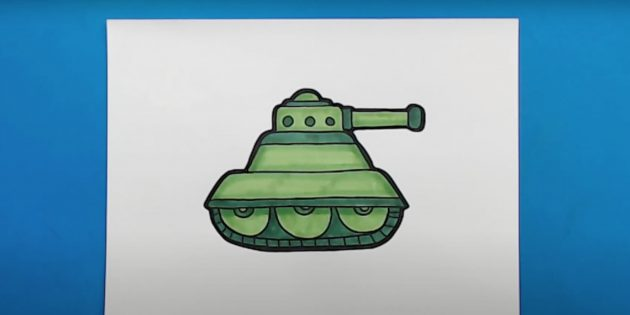 Рисунок танка маркерами или фломастерами