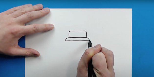 Как нарисовать танк: изобразите верхнюю часть