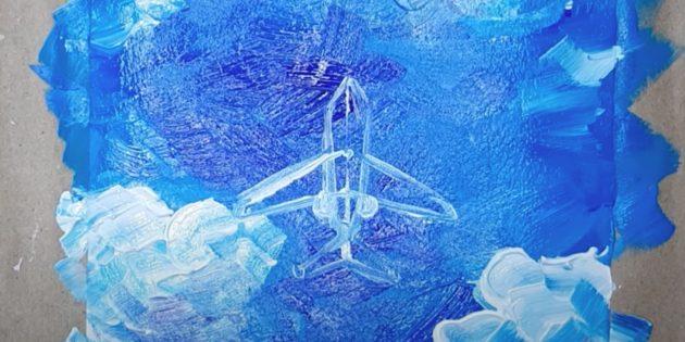 Как нарисовать самолёт: изобразите крылья, хвост и двигатели