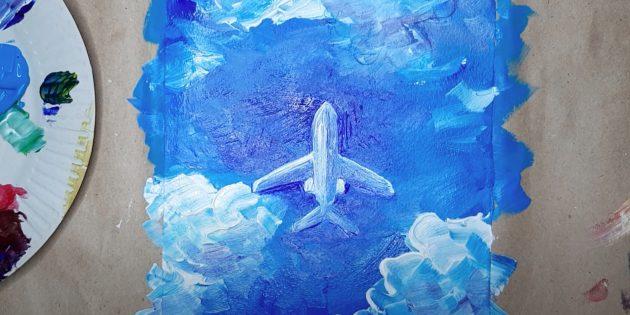 Как нарисовать самолёт: обведите крылья и сделайте фон ярче