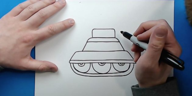 Как нарисовать танк: сделайте гусеницу