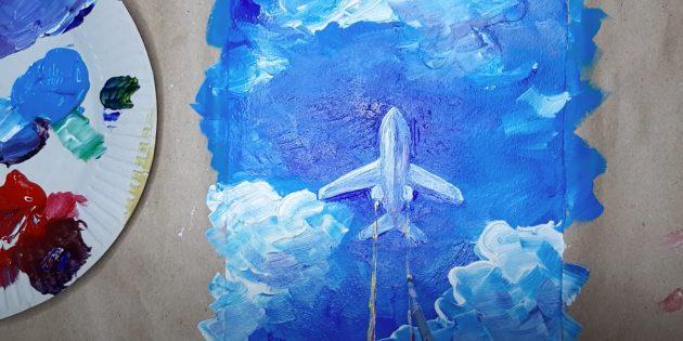 Как нарисовать самолёт: нарисуйте конденсационный след