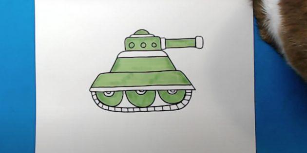 Как нарисовать танк: добавьте светло-зелёный цвет