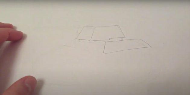 Как нарисовать танк: изобразите башню