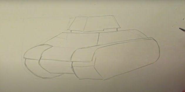 Как нарисовать танк: добавьте гусеницы