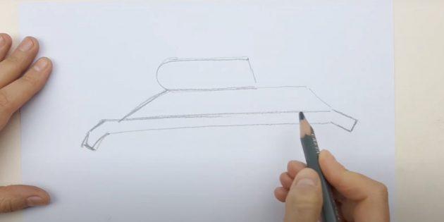 Как нарисовать танк: наметьте верхнюю часть