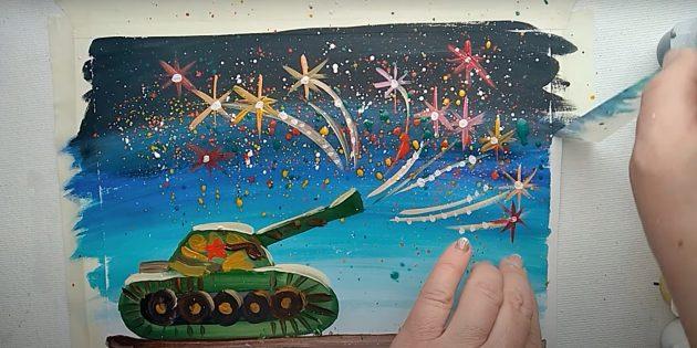 Как нарисовать танк: нарисуйте колёса и звезду
