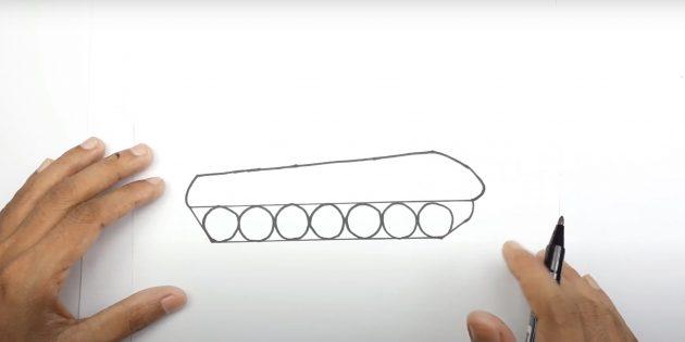 Как нарисовать танк: дорисуйте гусеницу