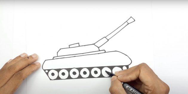 Как нарисовать танк: нарисуйте пушку и детализируйте катки
